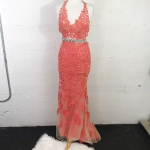 MoriLee by Madeline Gardner Coral Lace Over Prom 5